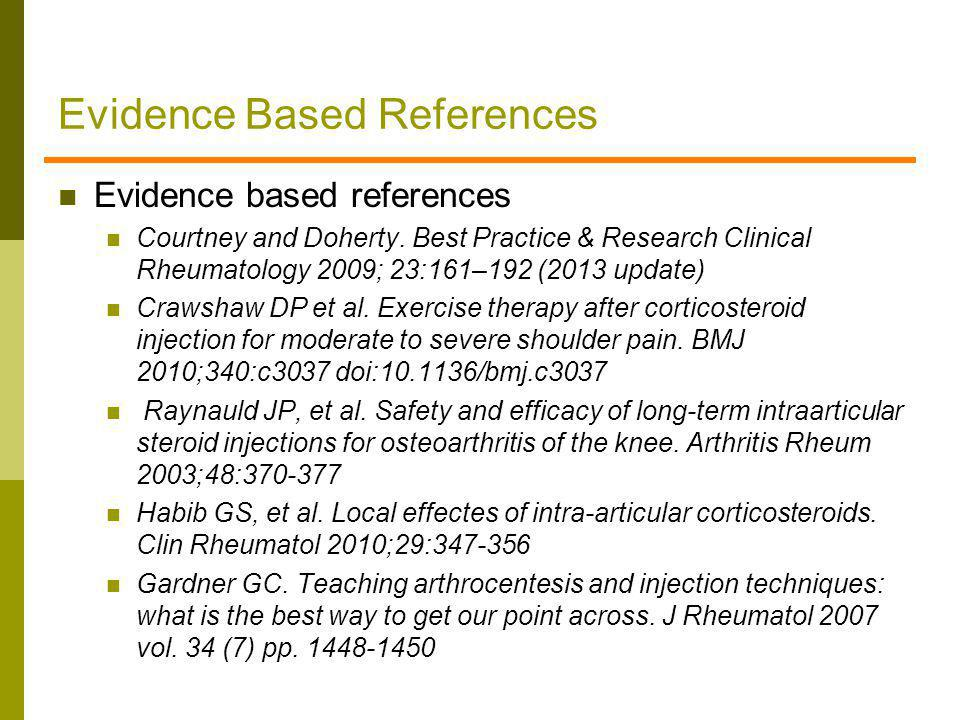 Evidence Based References