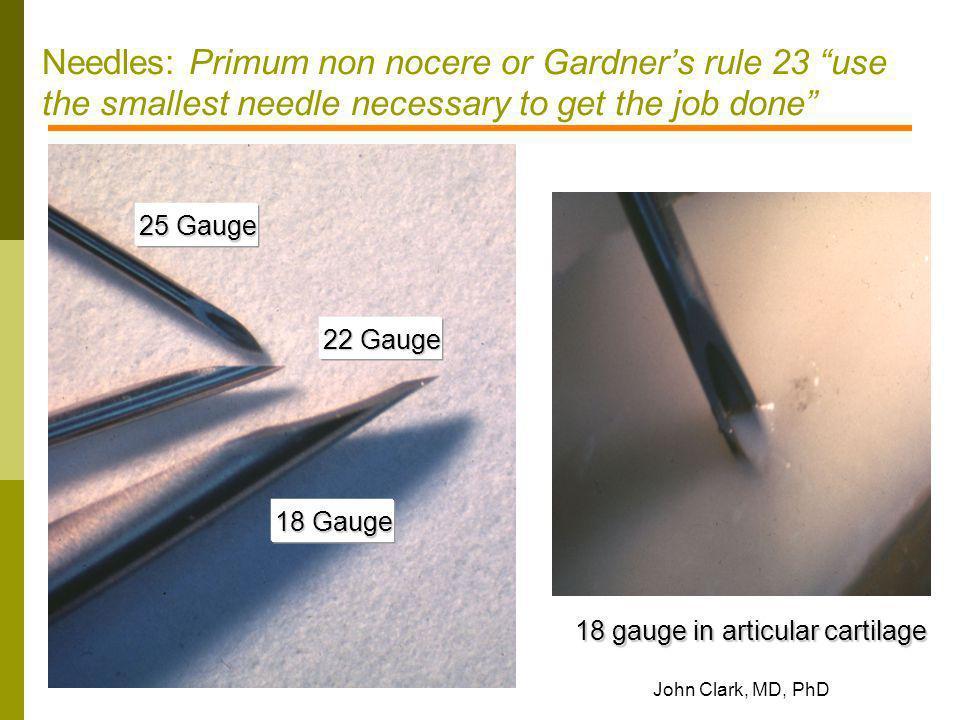 18 gauge in articular cartilage
