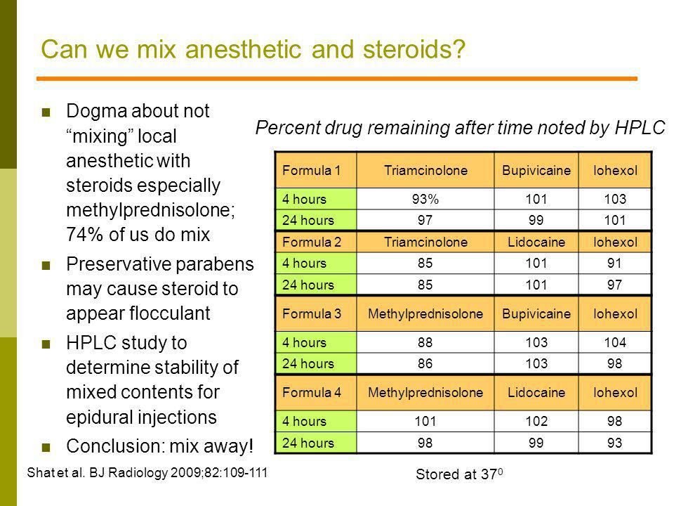 Can we mix anesthetic and steroids