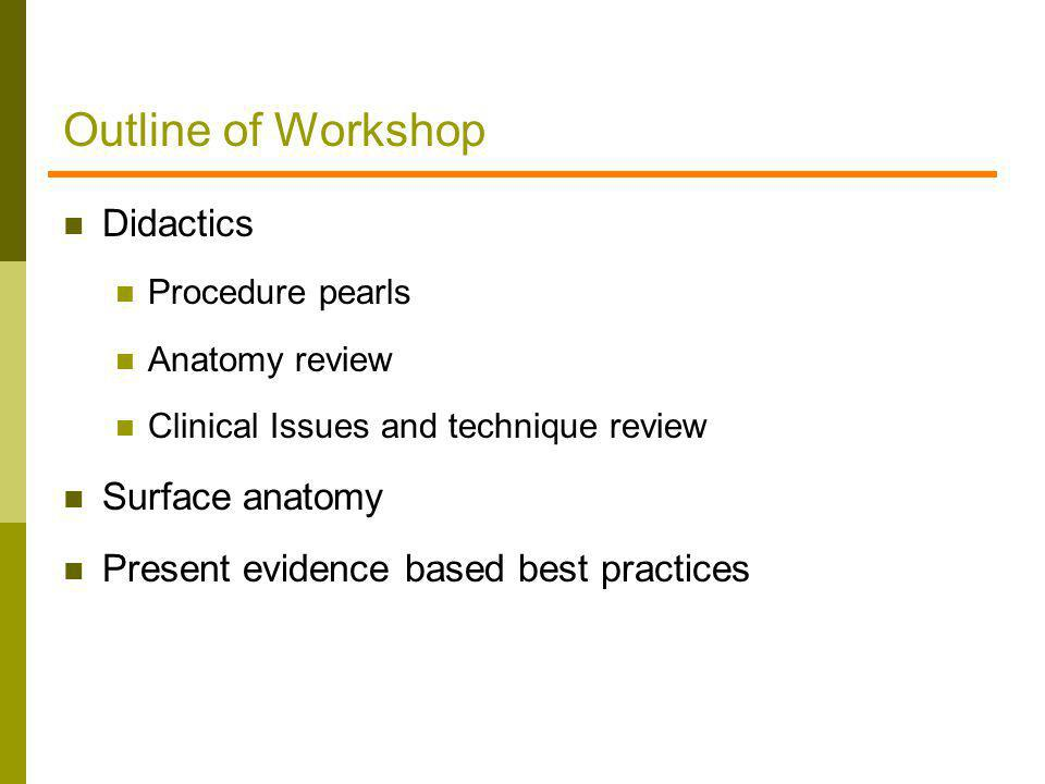 Outline of Workshop Didactics Surface anatomy