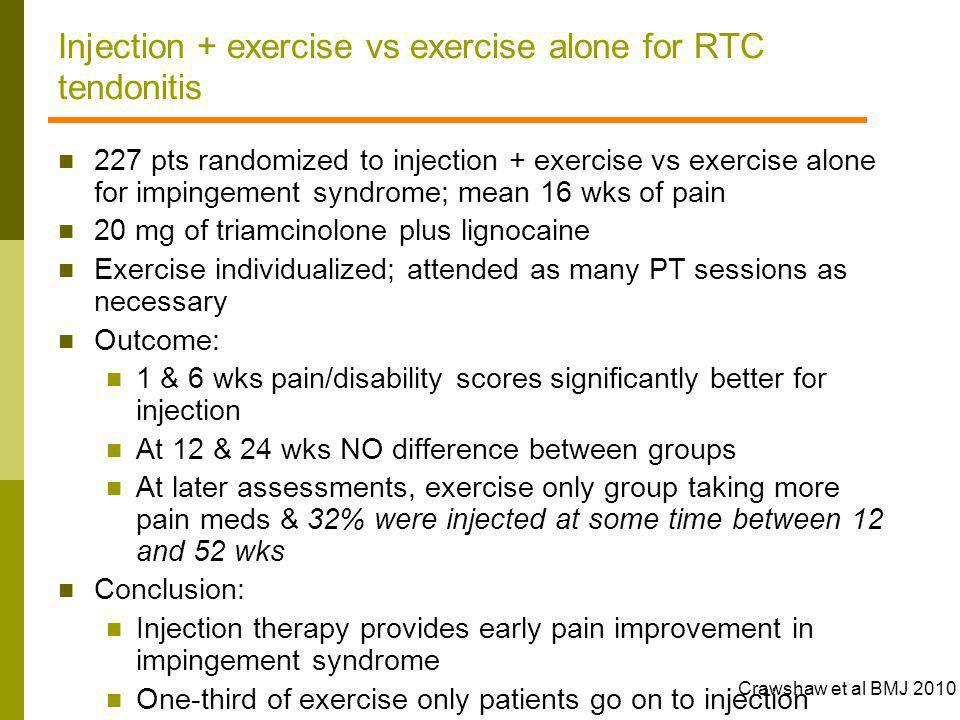 Injection + exercise vs exercise alone for RTC tendonitis