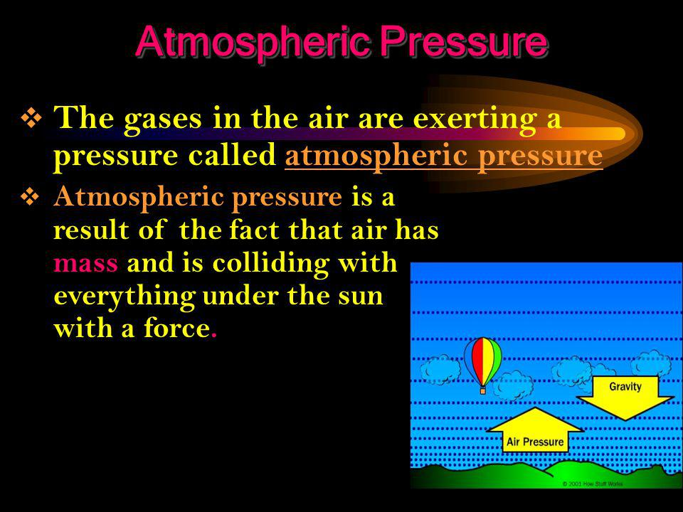 Atmospheric Pressure The gases in the air are exerting a pressure called atmospheric pressure.