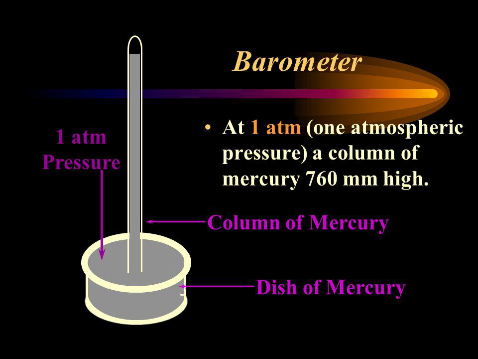 Barometer At 1 atm (one atmospheric pressure) a column of mercury 760 mm high. 1 atm Pressure. Column of Mercury.