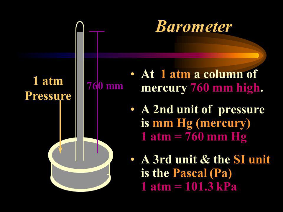Barometer At 1 atm a column of mercury 760 mm high. 1 atm Pressure