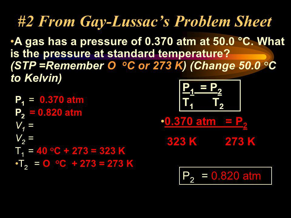 #2 From Gay-Lussac's Problem Sheet