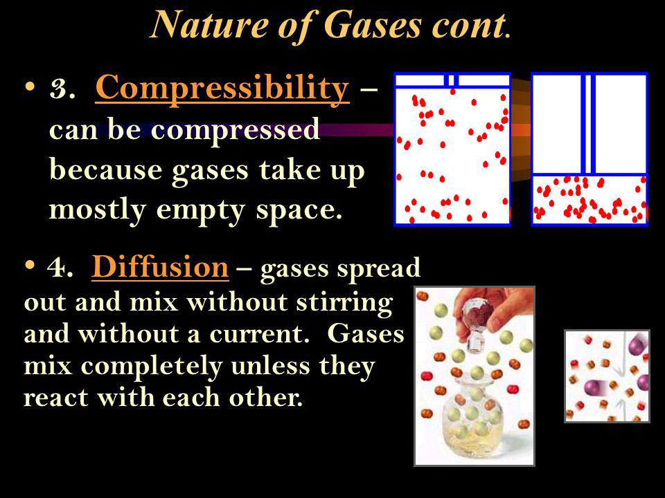 Nature of Gases cont. 3. Compressibility – can be compressed because gases take up mostly empty space.