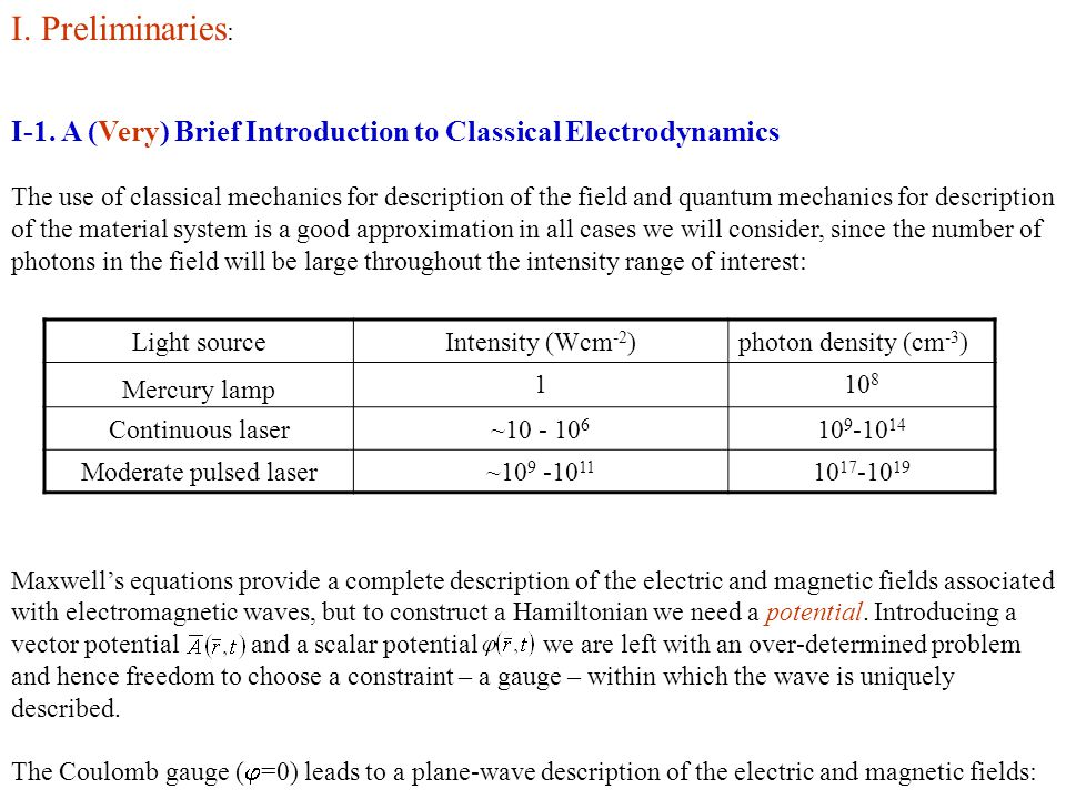 I. Preliminaries: I-1. A (Very) Brief Introduction to Classical Electrodynamics.