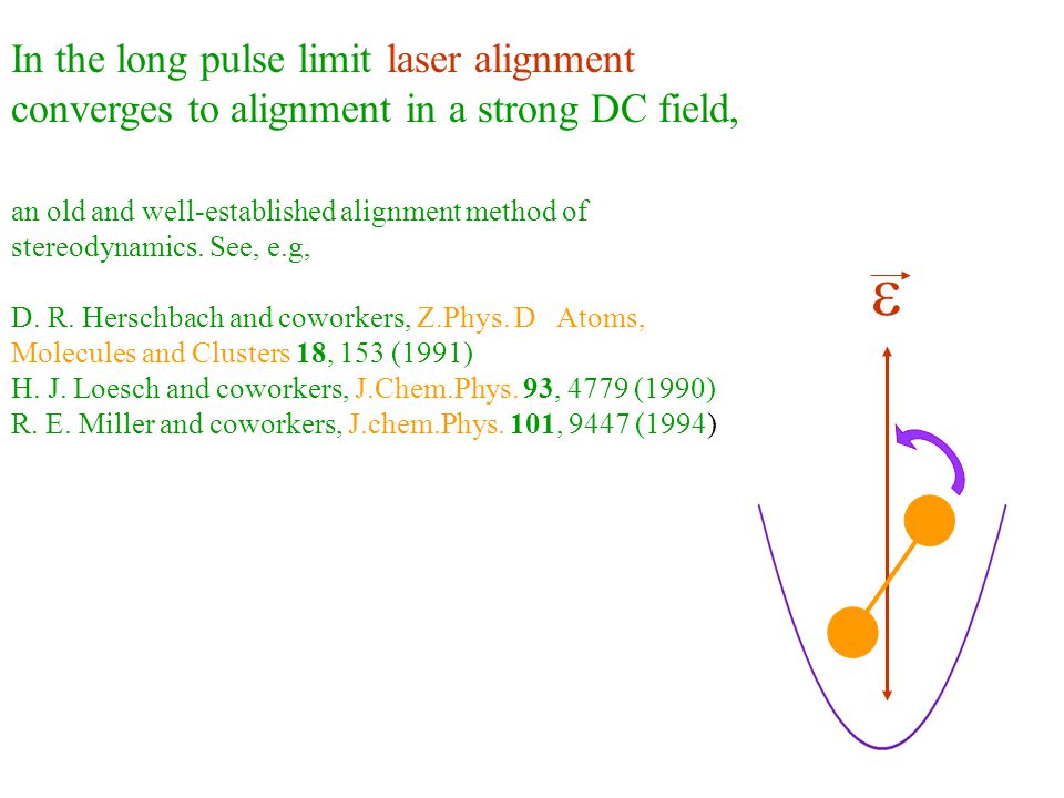 e In the long pulse limit laser alignment