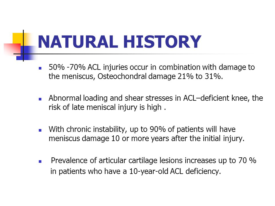 NATURAL HISTORY 50% -70% ACL injuries occur in combination with damage to the meniscus, Osteochondral damage 21% to 31%.