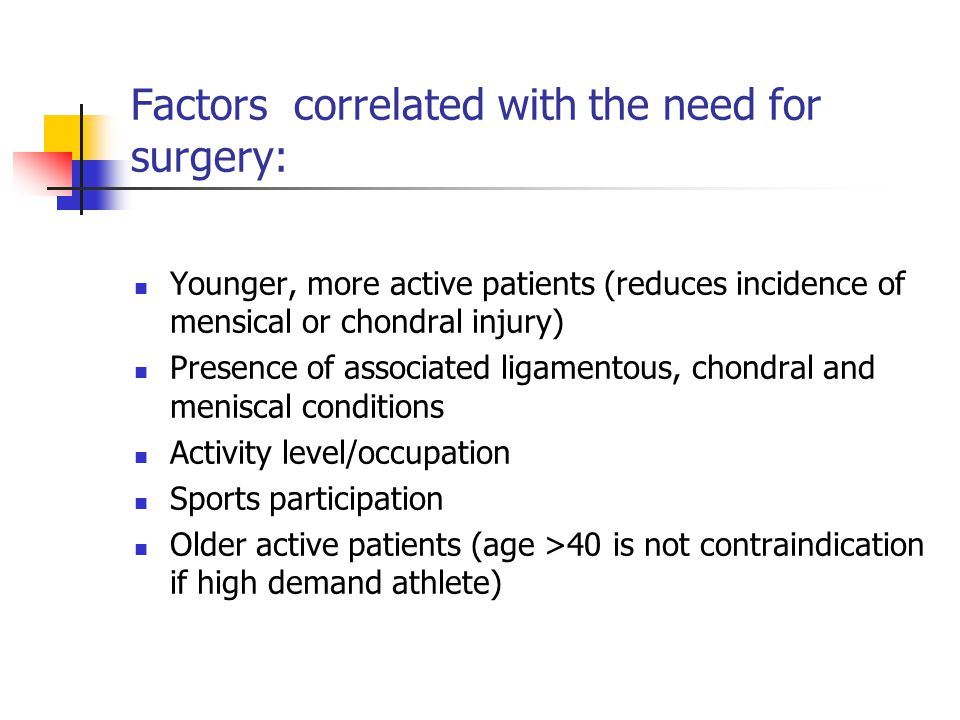 Factors correlated with the need for surgery: