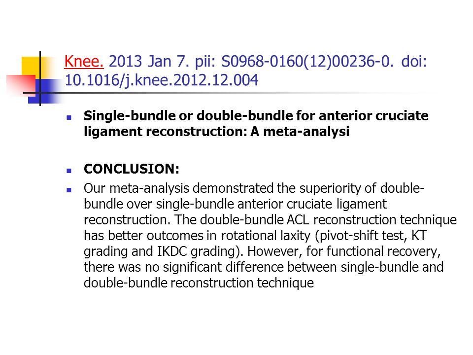 Knee. 2013 Jan 7. pii: S0968-0160(12)00236-0. doi: 10. 1016/j. knee