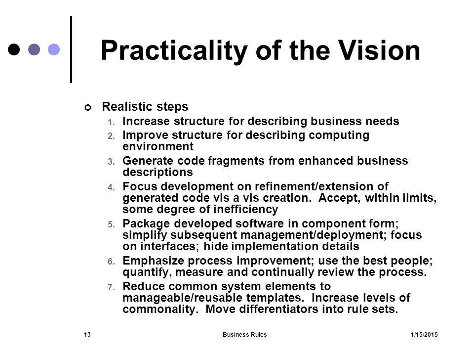 Practicality of the Vision