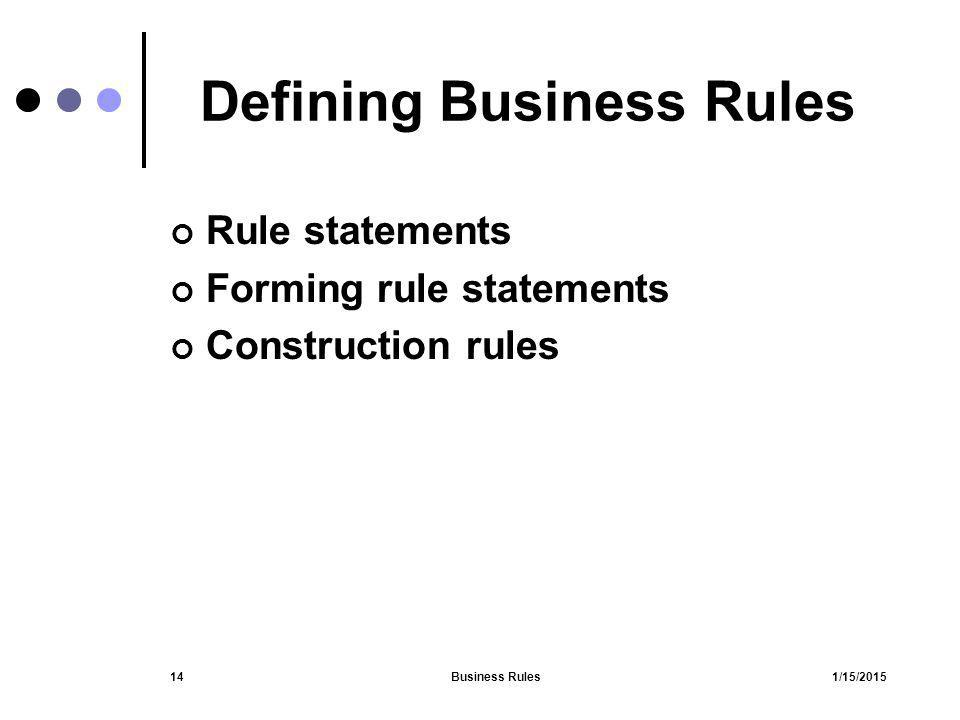 Defining Business Rules