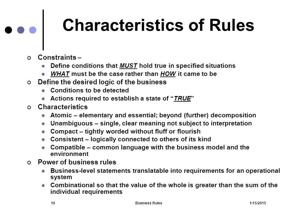 Characteristics of Rules