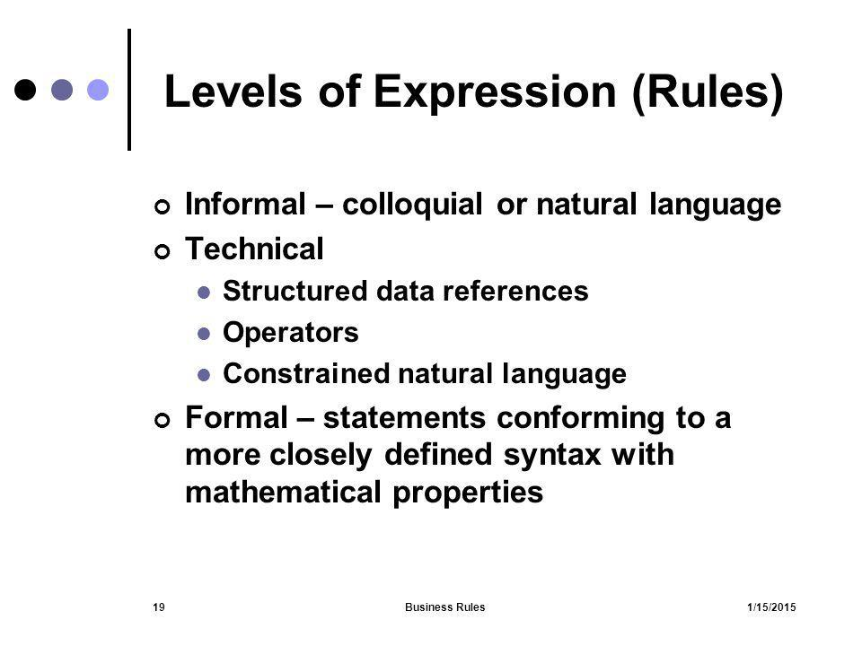 Levels of Expression (Rules)