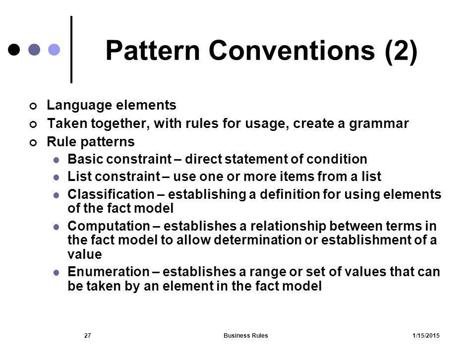 Pattern Conventions (2)