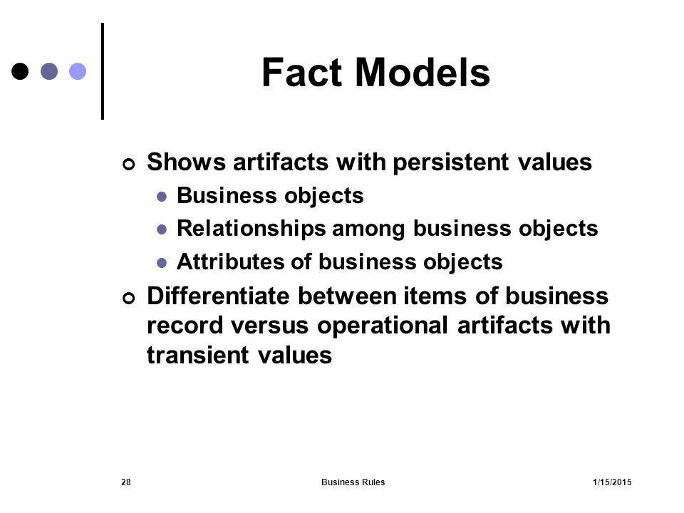 Fact Models Shows artifacts with persistent values