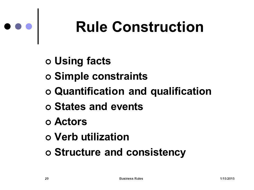 Rule Construction Using facts Simple constraints
