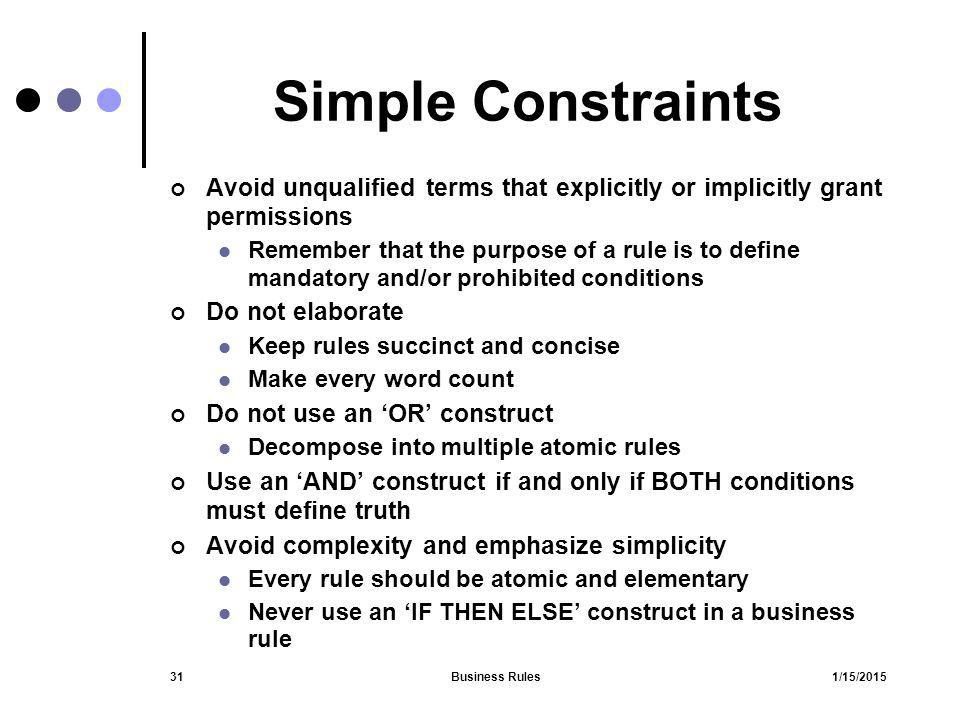 Simple Constraints Avoid unqualified terms that explicitly or implicitly grant permissions.