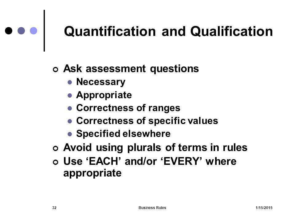 Quantification and Qualification