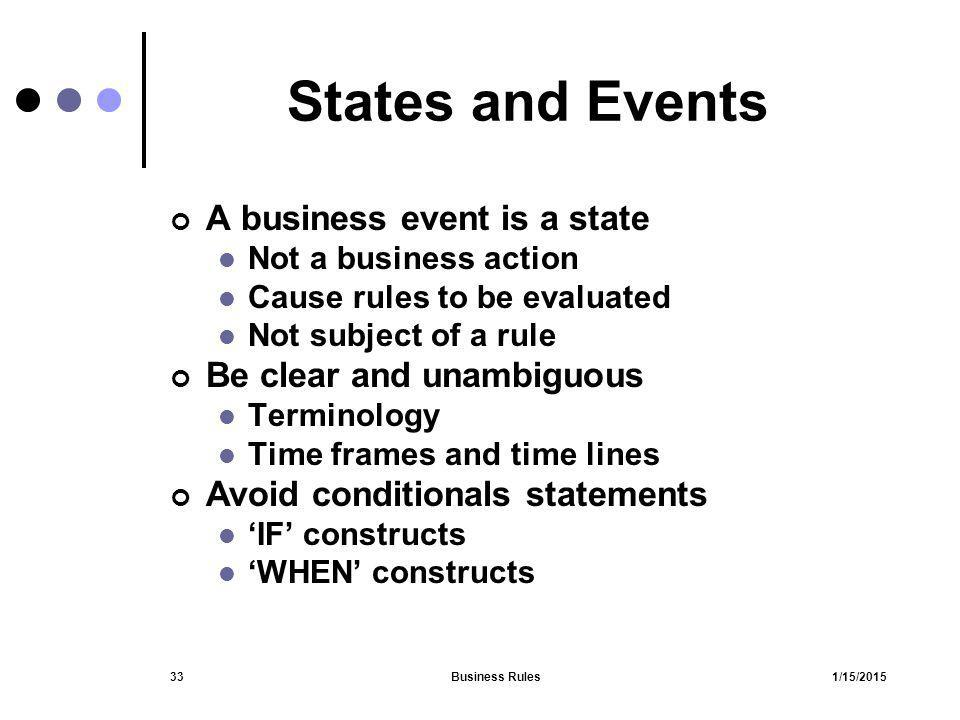 States and Events A business event is a state Be clear and unambiguous