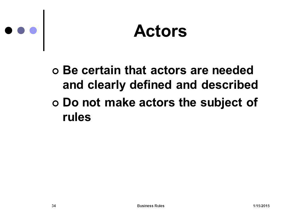 Actors Be certain that actors are needed and clearly defined and described. Do not make actors the subject of rules.