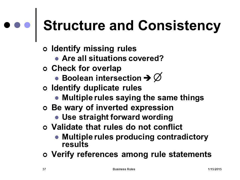 Structure and Consistency