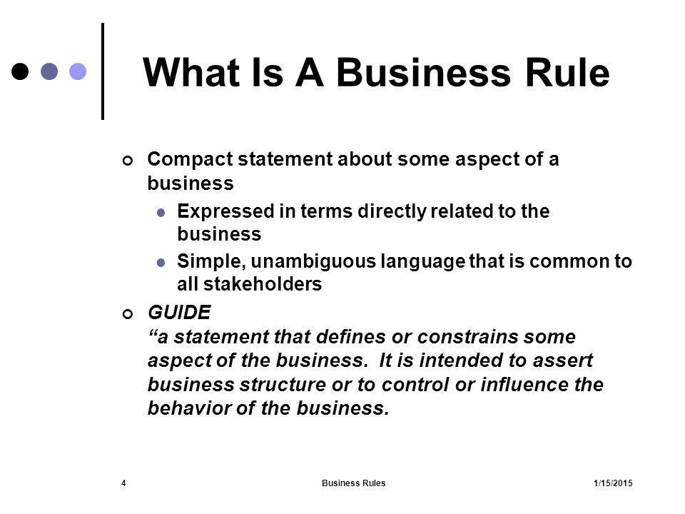 What Is A Business Rule Compact statement about some aspect of a business. Expressed in terms directly related to the business.