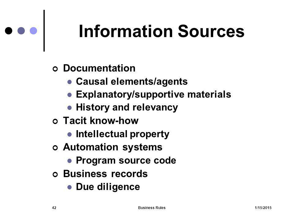 Information Sources Documentation Tacit know-how Automation systems