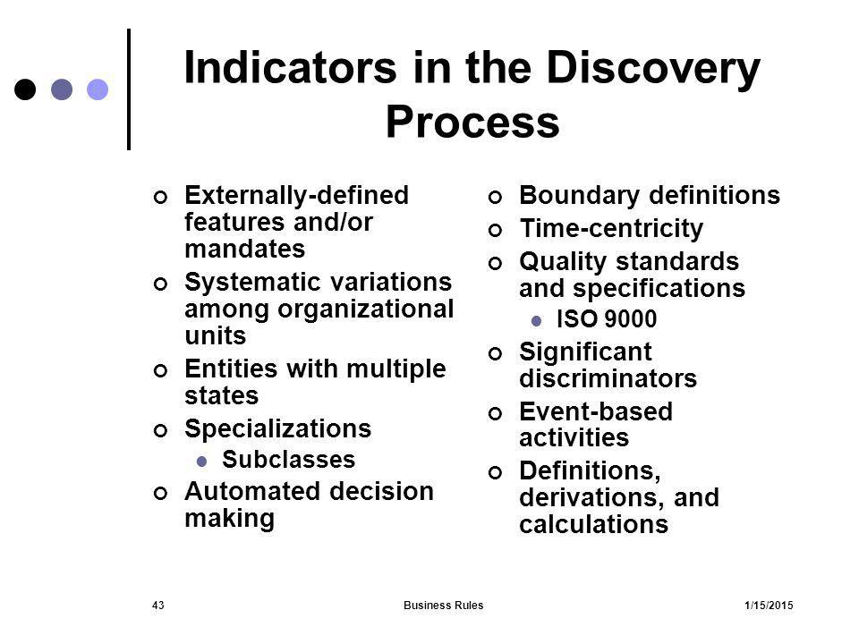 Indicators in the Discovery Process