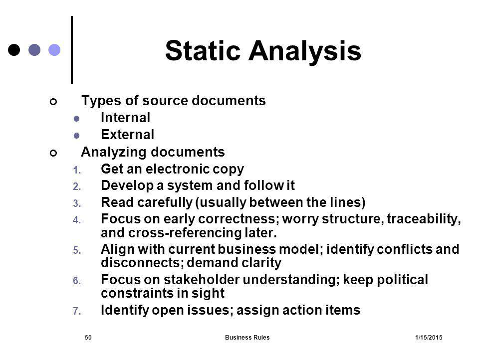 Static Analysis Types of source documents Analyzing documents Internal