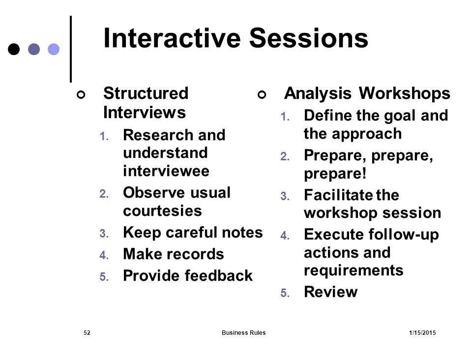 Interactive Sessions Structured Interviews Analysis Workshops