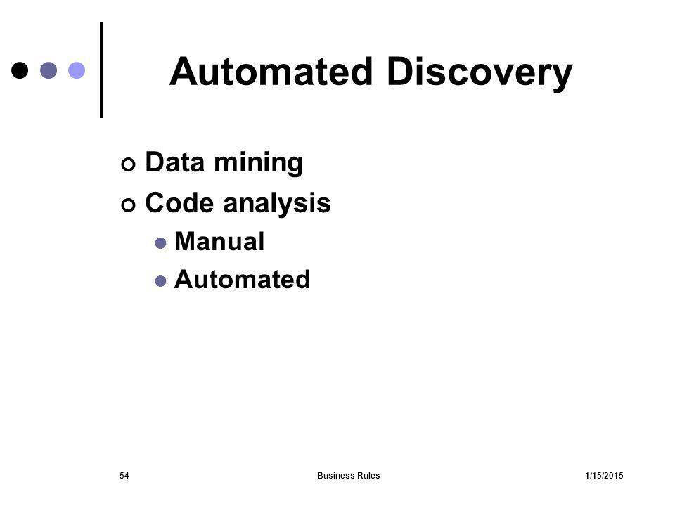 Automated Discovery Data mining Code analysis Manual Automated