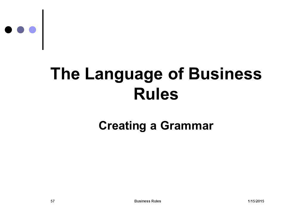 The Language of Business Rules