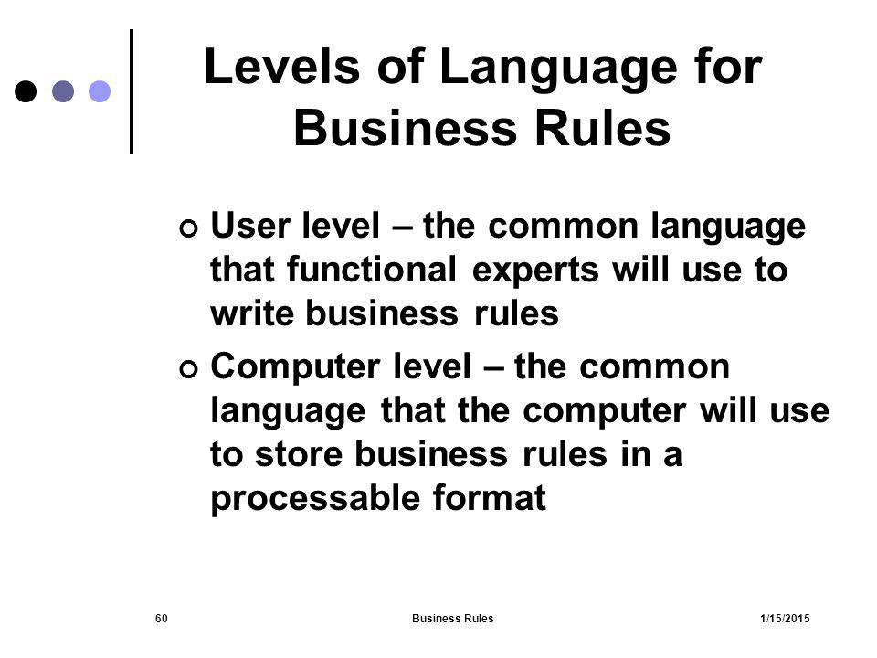 Levels of Language for Business Rules