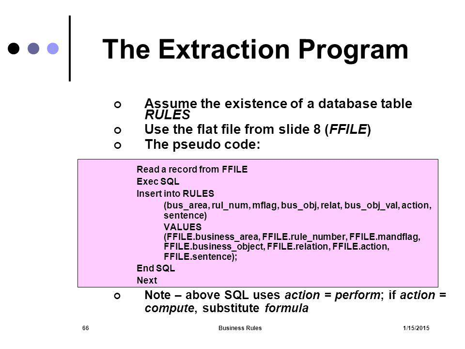 The Extraction Program