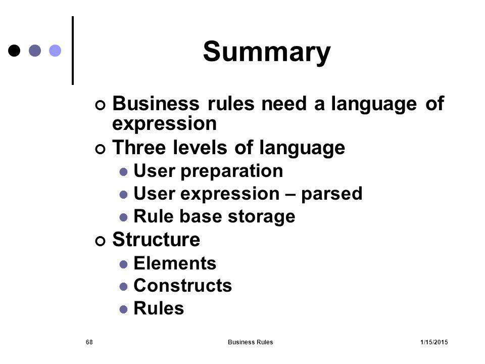 Summary Business rules need a language of expression