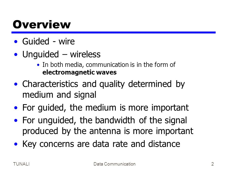 Overview Guided - wire Unguided – wireless