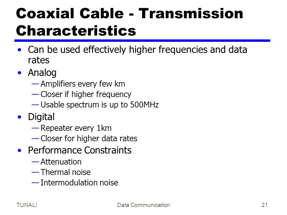 Coaxial Cable - Transmission Characteristics