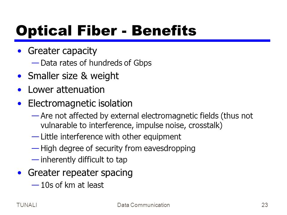 Optical Fiber - Benefits