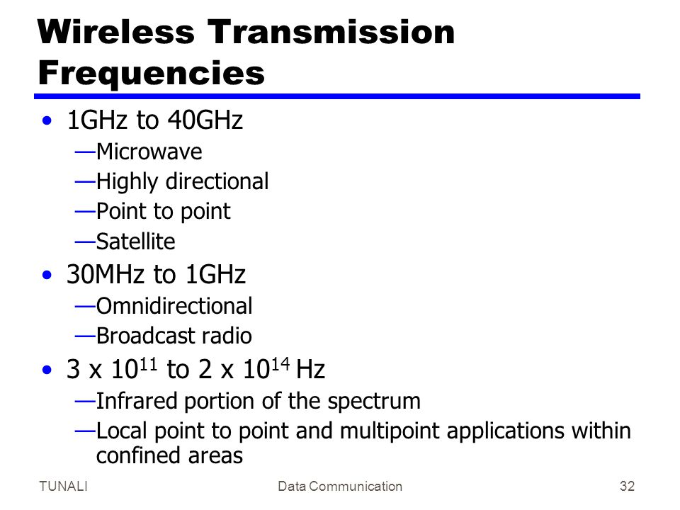 Wireless Transmission Frequencies