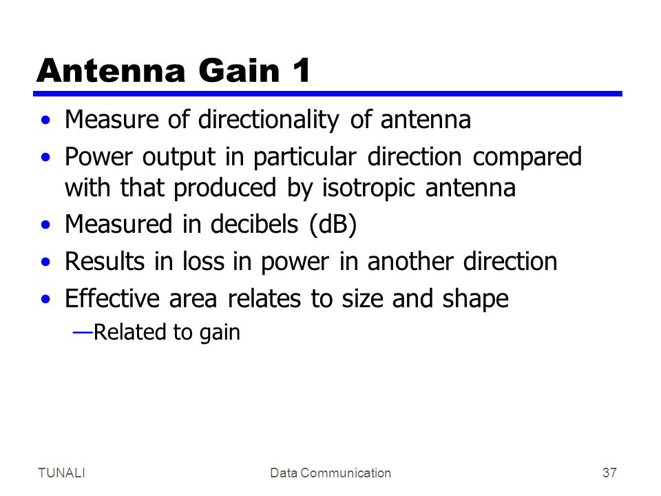 Antenna Gain 1 Measure of directionality of antenna