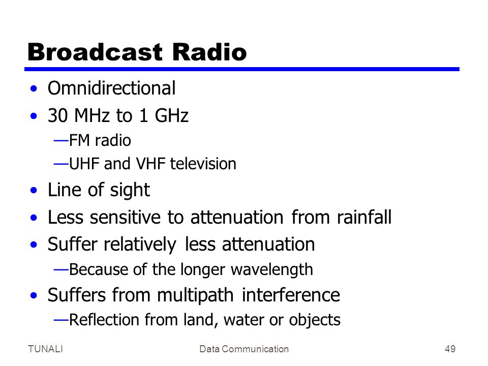 Broadcast Radio Omnidirectional 30 MHz to 1 GHz Line of sight