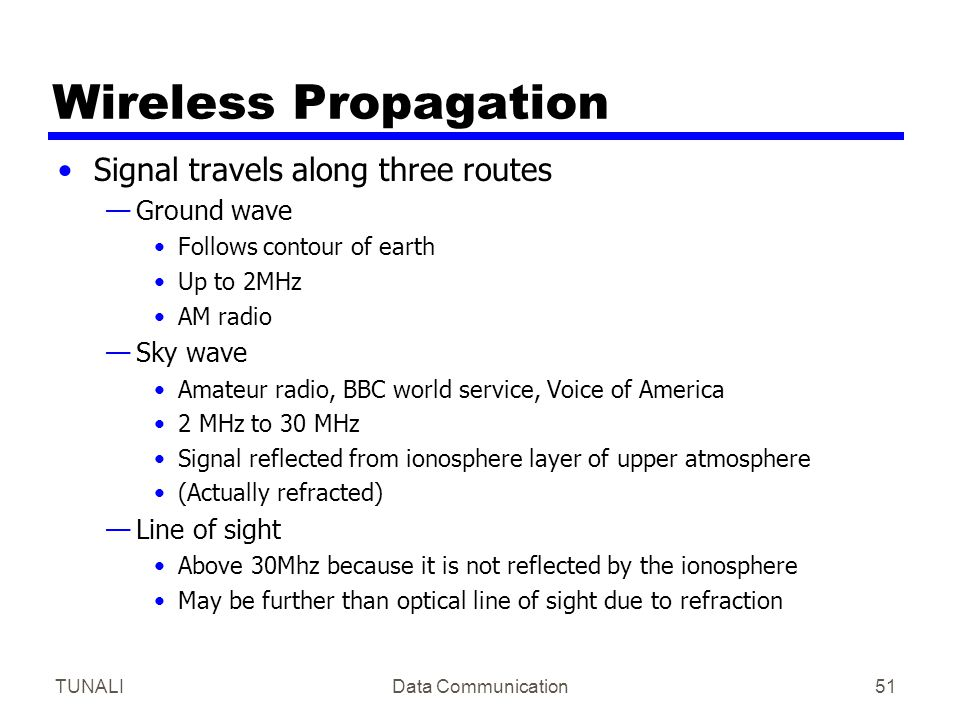 Wireless Propagation Signal travels along three routes Ground wave