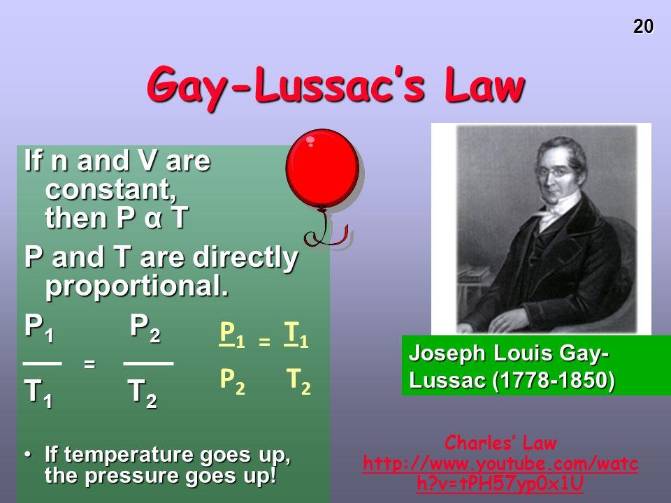 Charles' Law http://www.youtube.com/watch v=tPH57yp0x1U