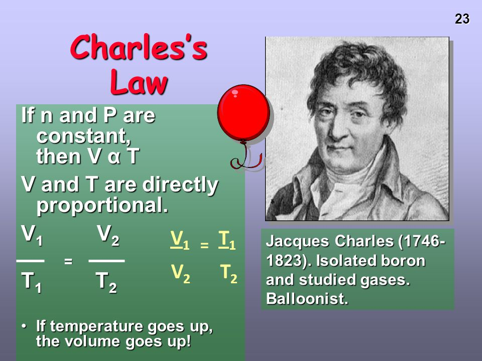 Charles's Law If n and P are constant, then V α T