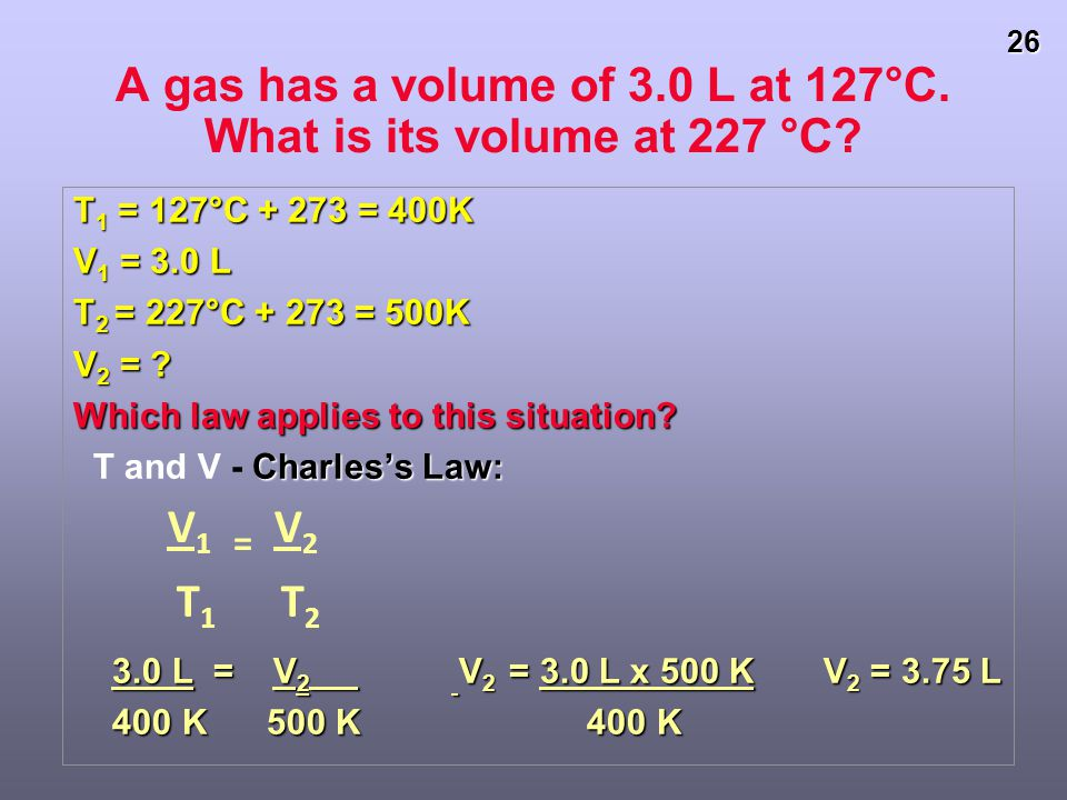 A gas has a volume of 3.0 L at 127°C. What is its volume at 227 °C