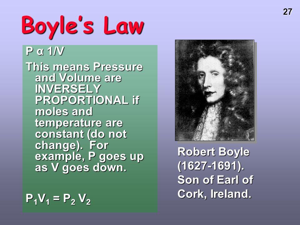 Boyle's Law P α 1/V.