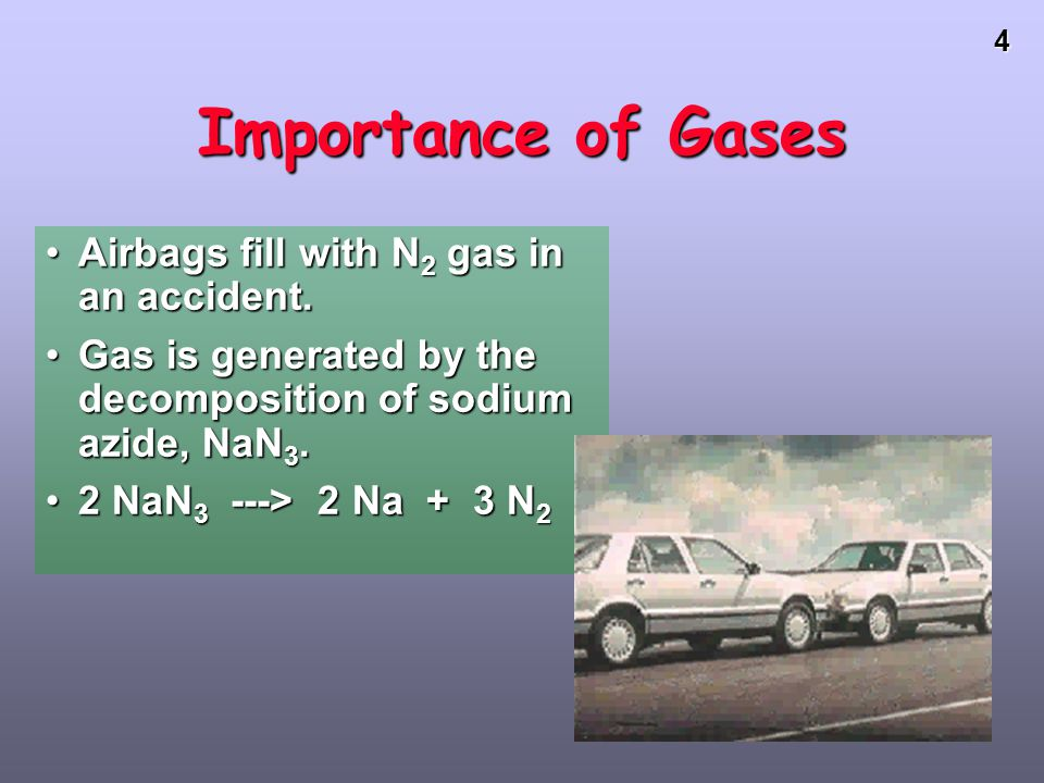 Importance of Gases Airbags fill with N2 gas in an accident.