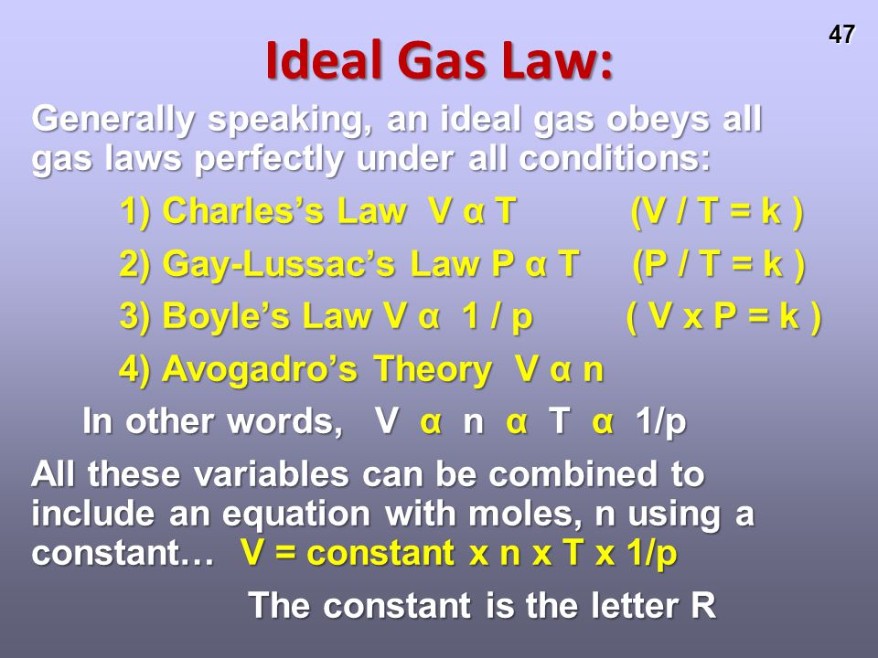 Ideal Gas Law: